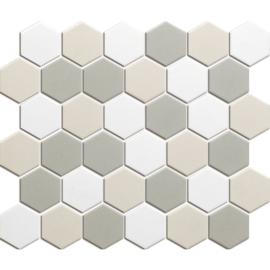 Mozaiek Hexagon Wit Mix Onverglaasd Porselein 51x59mm TMF London LOH10MIX2