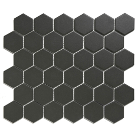 Mozaiek Hexagon Zwart Onverglaasd Porselein 51x59mm TMF London LOH1017