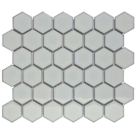 Mozaiek Hexagon Zacht Grijs met retro rand Glanzend 51x59mm TMF Barcelona AFH02076