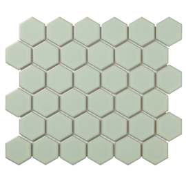 Mozaiek Hexagon Antiek Groen met retro rand Glanzend 51x59mm TMF Barcelona AFH06052