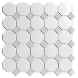 Mozaiek Octagon Wit met Grijs Geglazuurd Porselein TMF Paris PAOC140300