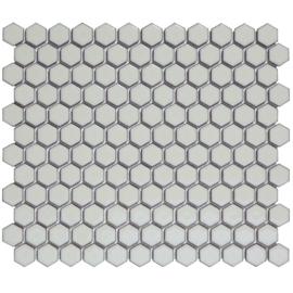 Mozaiek Hexagon Zacht Grijs  met retro rand  23x26mm  TMF Barcelona AFH23330