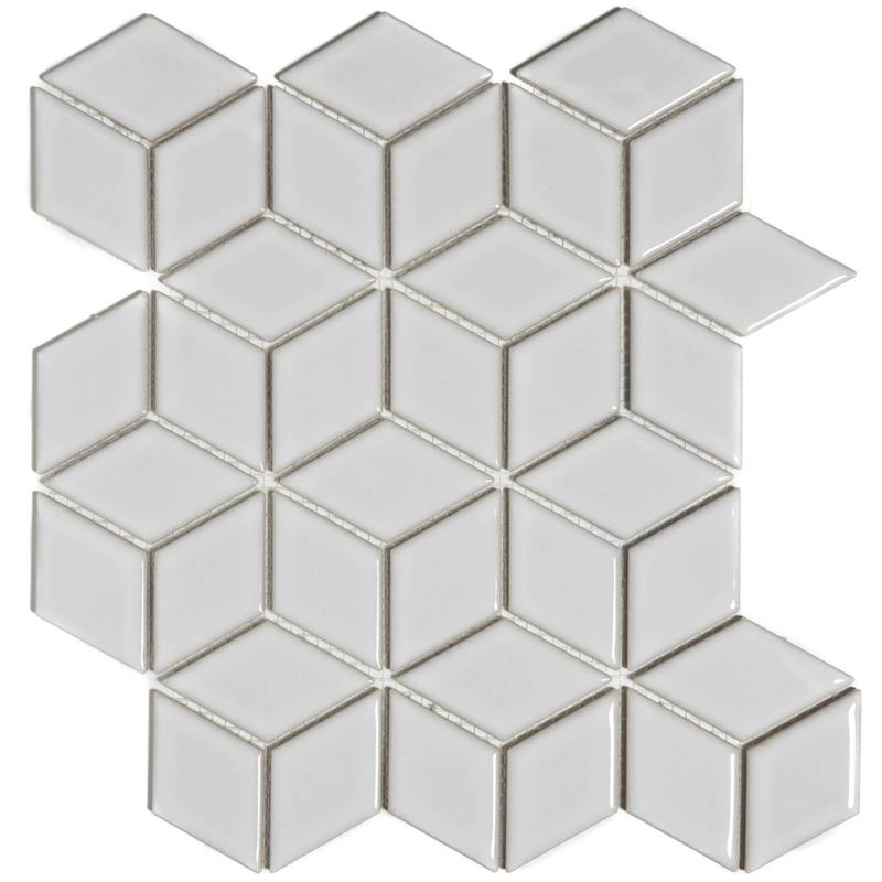 Mozaiek 3D Cubic MAt Wit Geglazuurd Porselein TMF Paris PACU140