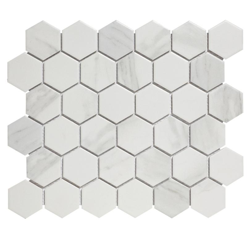 Mozaiek Hexagon Marmer Carrara wit effect 51x59mm AMH13003