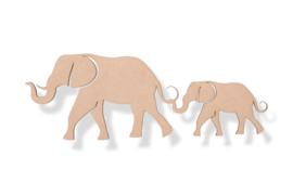 Olifant met jong  57 x 20cm