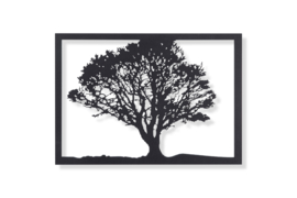 Boom silhouet in frame enkelzijdig 57x40cm