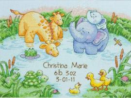 Little Pond Birth Record - Kleine vijver geboortetegel - Borduurpakket - Dimensions