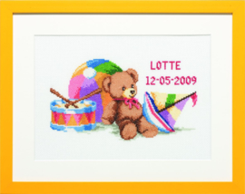Geboortetegel Beertje met speelgoed Aida telpakket Pako
