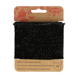 Zwarte Boordstof met Glinsterende Lurex Opry