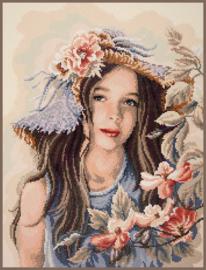 Meisje met hoed Diamond painting Lanarte