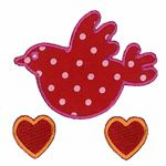 43V5 Bird & Hearts ReStyle Applique Patch