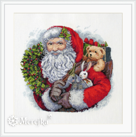 Santa with Wreath Aida Merejka Borduurpakket