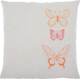 Vlinders in Oranje Tinten Voorbedrukt kussen - Vervaco