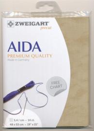 Bruin Vintage Voorgesneden Aida 14ct - 5.4kr/cm Zweigart 48x53cm