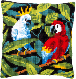 Tropische Vogels Voorbedrukt Kruissteekkussen Vervaco