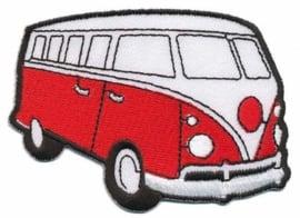 Rood Volkswagen Bus Opstrijkbare Applicatie