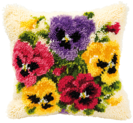 Violets Latch Hook Cushion Vervaco