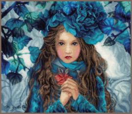 Blue Flowers Girl Eavenwave borduurpakket - Lanarte