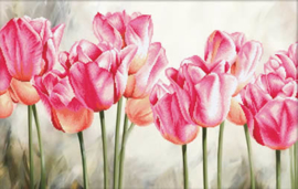 Pink Tulips voorbedrukt Borduurpakket Needleart World