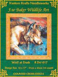 Wolf at Dusk Kustom Krafts Needleworks Borduurpatroon