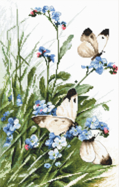 Butterflies and Bluebird Flowers Aida telpakket Letistitch