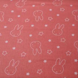 Miffy bedtime salmon - Nijntje bedtijd zalm - Camelot Fabrics
