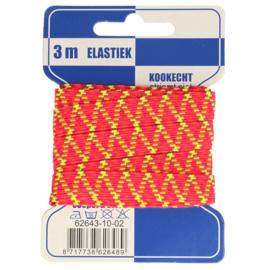 Geel/ roze zigzag elastiek 10mm