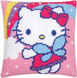 Hello Kitty met Regenboog Kruissteekkussen Vervaco