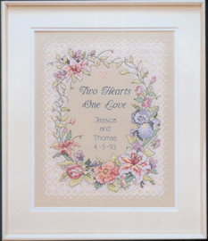 Two Hearts Wedding Voorbedrukt borduurpakket - Dimensions