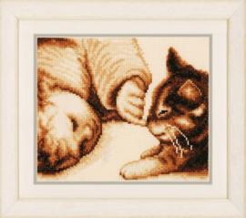 Meisje met Kitten Aida Vervaco Telpakket