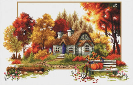 Autumn Cottage Voorbedrukt Borduurpakket Needleart World