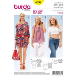 6684 Dress & Blouse Burda Style Maat 34 - 46