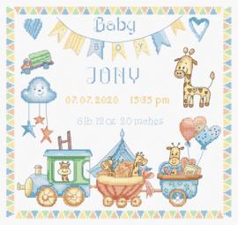 Baby Boy Record Aida Leti Stitch Borduurpakket