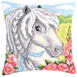 White Horse voorbedrukt kruissteekkussen Collection D'Art