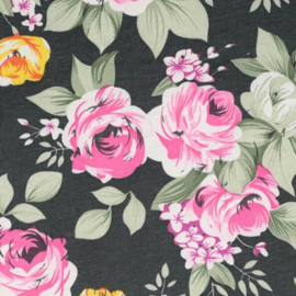 Zwarte bloemenstof Tissu de Marie 100% polyester
