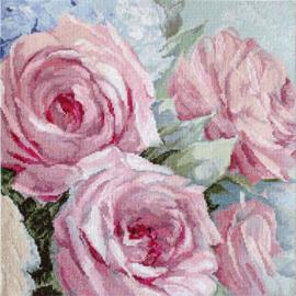 Pale Pink Roses Aida Leti Stitch Telpakket