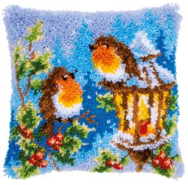 Roodborstjes met kerst Knoopkussen Vervaco