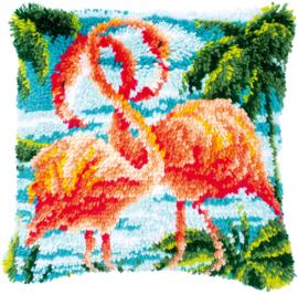 Flamingo's Voorbedrukt Knoopkussen Vervaco