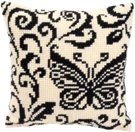 Vlinder in zwart/wit voorbedrukt kussenpakket - Vervaco