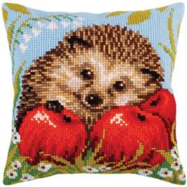 Hedgehog with Apples Voorbedrukt Kruissteekkussen Collection D'Art