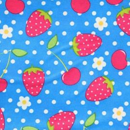 Aardbeien en Kersen blauwe stof - Tissu de Marie 100% polyester