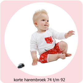 Korte harembroek maat 74 t/m 92 Annie do it yourself naaipatroon