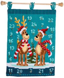 Elanden met sjaals Kruissteekwandkleed (Adventkalender) Vervaco
