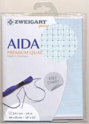Licht Blauwe Voorgesneden Aida 14ct - 5.4kr/cm Zweigart 48x53cm