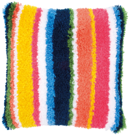 Bright Stripes Latch Hook Cushion Vervaco