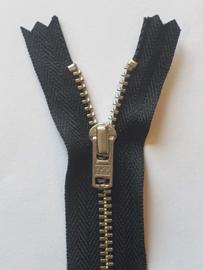 580 Broekrits Zwart Fijn Zilver 20cm YKK
