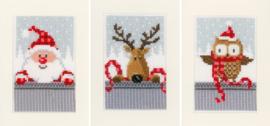Wenskaart kit Kerstfiguren I set van 3 - Vervaco - PN-0149384