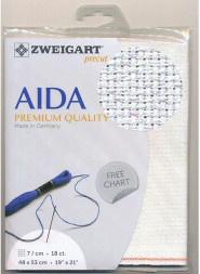 Witte Glitter Aida Zweigart 18ct-7kr/cm 48x53cm