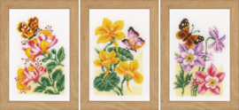 Miniatuur kit Bloemen en vlinders Aida telpakket Vervaco