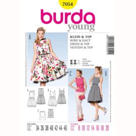 7054 Jurk & topje Burda style geel